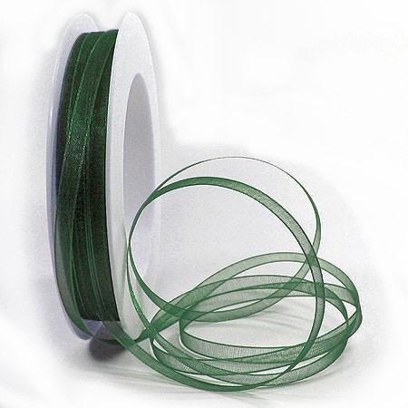 Organzaband: 5mm breit / 50m-Rolle, tannengrün