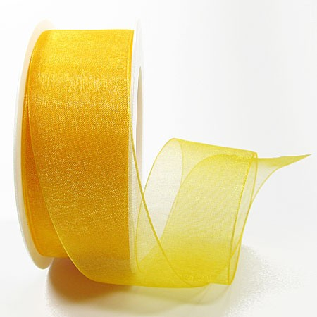 Organzaband mit Drahtkante, 38mm breit / 25m-Rolle, gelb