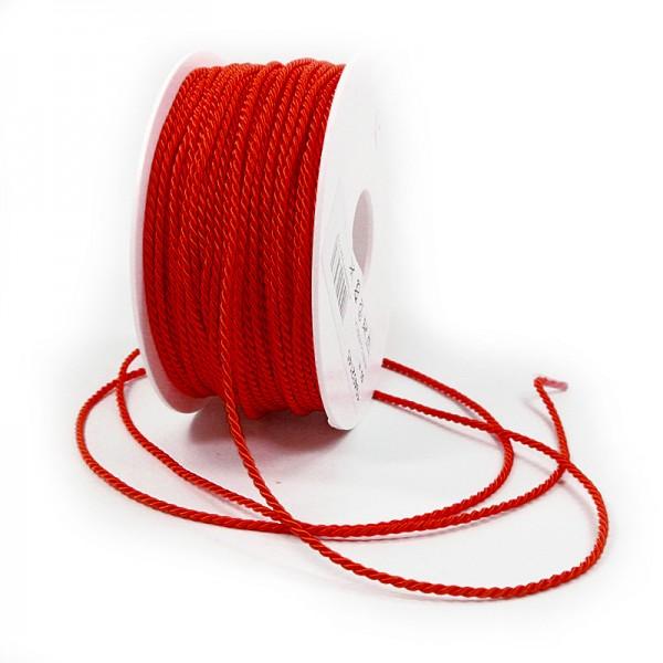 Kordel: 2mm breit / 50m-Rolle, rot.