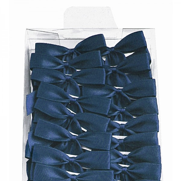 2-Flügel Fertigschleifen: marineblau = 100 Stück - mit Selbstklebe-Etikett