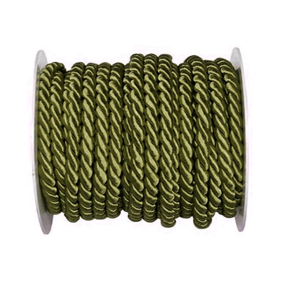 Kordel, einfarbig gedreht: 6mm breit Ø / 25m-Rolle, moosgrün