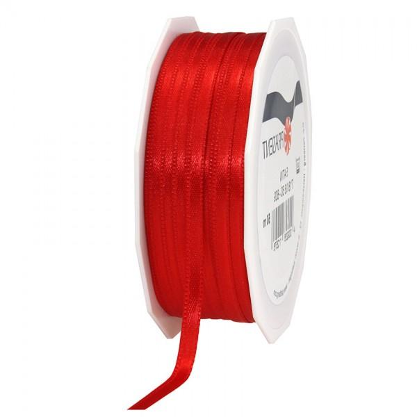 Satinband-PRÄSENT, rot: 6mm breit / 50m-Rolle, mit feiner Webkante.