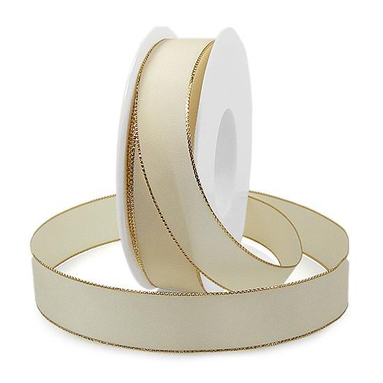 Basic-Drahtkantenband: 25mm breit / 25m, creme-gold