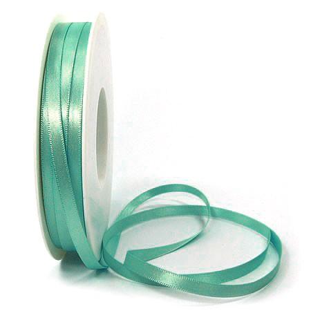 Satinband SINFINITY, türkis: 6mm breit / 50m-Rolle, mit feiner Webkante.