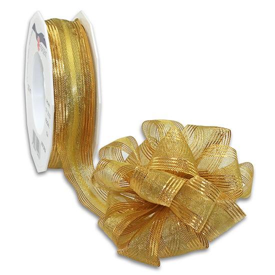 Ziehschleifenband ASTORIA: 25mm breit / 25m-Rolle, gold-metallic