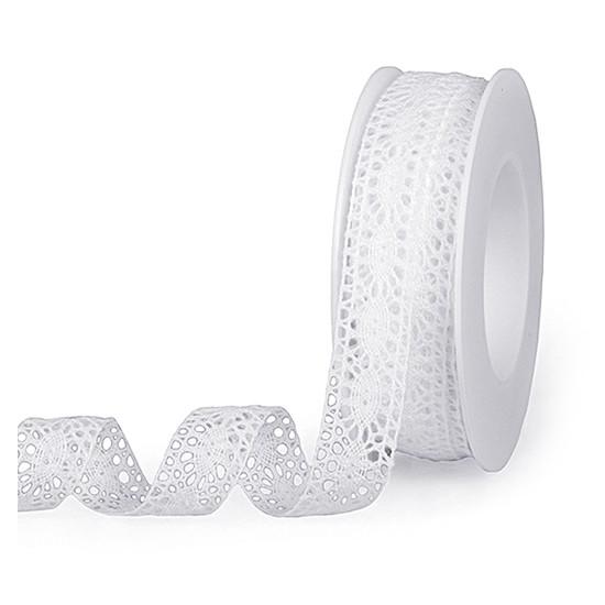 Häkelband, weiß: 18mm breit / 10m-Rolle