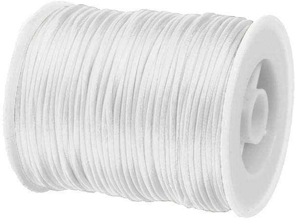 Satinkordel-Seidenkordel: 3mm Ø breit / 100m-Rolle, weiß