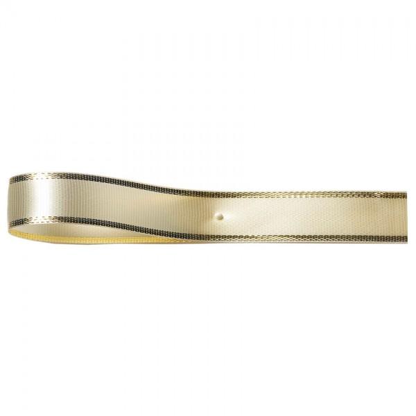 Satinband-EASY, creme-gold: 10mm breit / 25m-Rolle, mit Lurex-Gold-Kante.