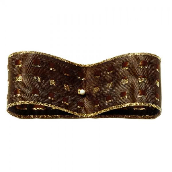 Dekorband-GLAMOUR, dunkelbraun-gold: 25mm breit / 25m-Rolle, mit Drahtkante