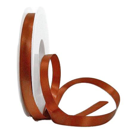 Satinband SINFINITY, mocca: 10mm breit / 25m-Rolle, mit feiner Webkante.