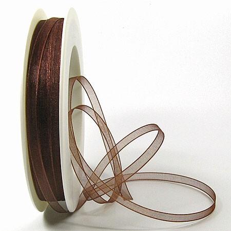 Organzaband: 5mm breit / 50m-Rolle, dunkelbraun