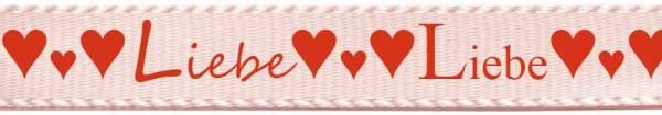 """Herzband """"Liebe"""", hellrosa: 15mm breit - 25m-Rolle"""