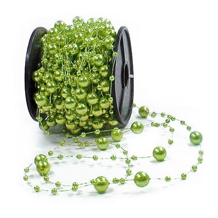 Dekoperlen, lindgrün - 8mm breit / 10m-Rolle