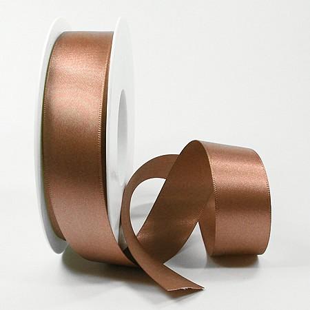 Satinband-SINFINITY, bronze: 25mm breit / 25m-Rolle, mit feiner Webkante