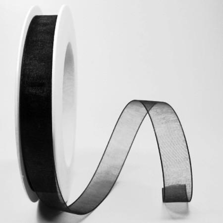 Organzaband schwarz: 15mm breit / 25m-Rolle