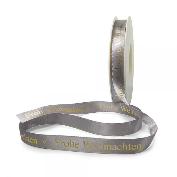 Weihnachtsband-Satin-15mm breit/25m Rolle, silbergrau, gold-hochglanz