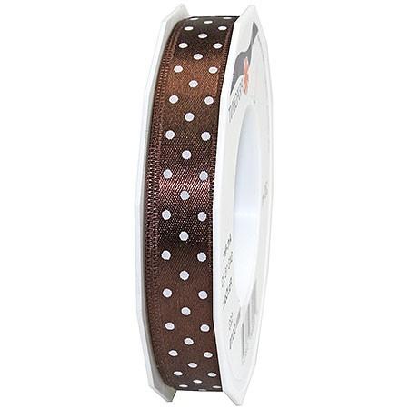 Pünktchenband, dunkelbraun: 15mm breit / 20m-Rolle