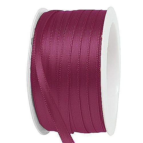 """Satinband, fuchsia """"SATINA"""": 6 mm breit / 50 Meter, mit einfacher schlichter Webkante."""