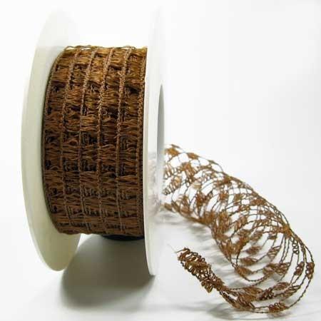 Gitterband, braun: 40 mm breit / 15-Meter-Rolle, mit Drahtkante.