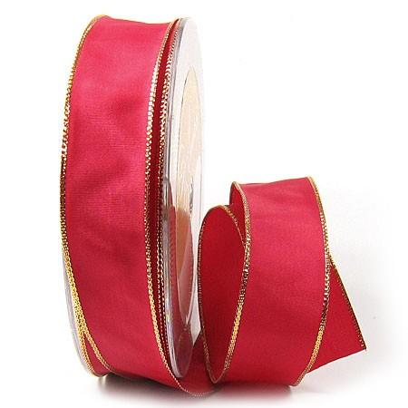 Dekoband Basic: 25mm breit / 25m, rot-gold