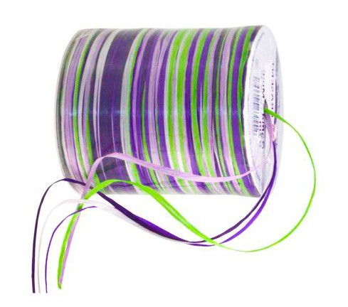 Raffia - Multicolor: 10mm breit / 50m-Rolle, flieder-lila-grün-weiss