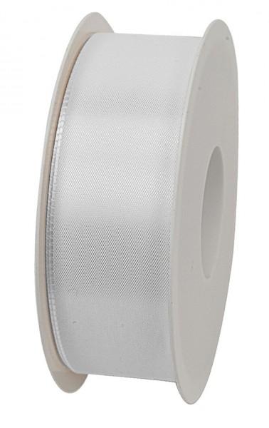 Taftband, weiss: 40mm breit / 50m-Rolle, mit feiner Webkante.