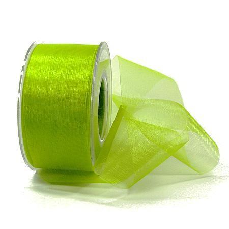 Organzaband-Sheer: 40mm breit / 25m-Rolle, lindgrün.