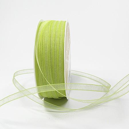 Organzaband: 5mm breit / 50m-Rolle, hellgrün