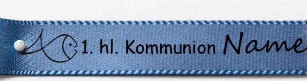 Beispiel Kommunionsband, blau: 15mm breit / 25m-Rolle