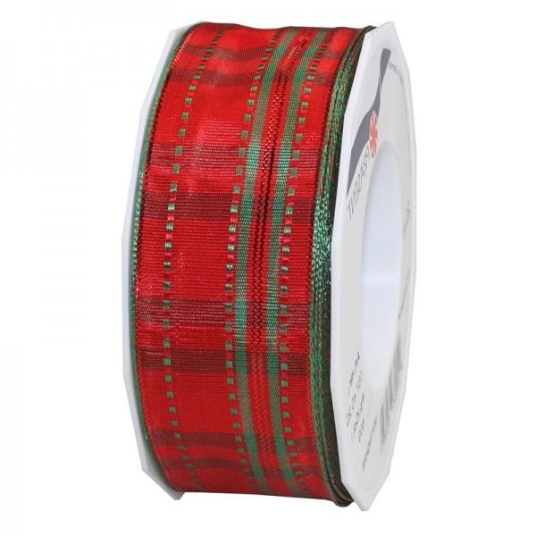 Weihnachtsband - NOTTINGHAM: 40mm breit / 20m-Rolle, rot-grün