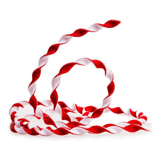 Elastik-Kordel: 4mm Ø breit / 10m-Rolle, rot-weiss