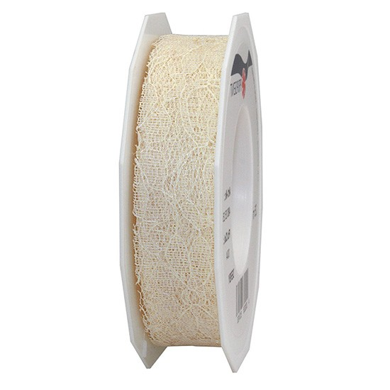 Spitzenband: 25mm breit / 25m-Rolle, creme
