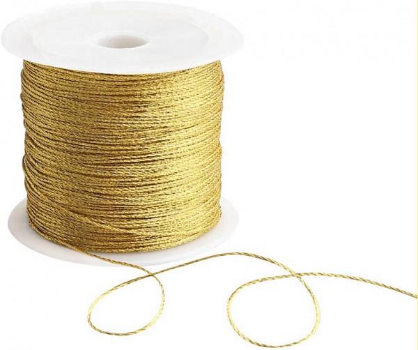 Draht-Kordel, gold-metallic: 1 mm breit / 50 Meter