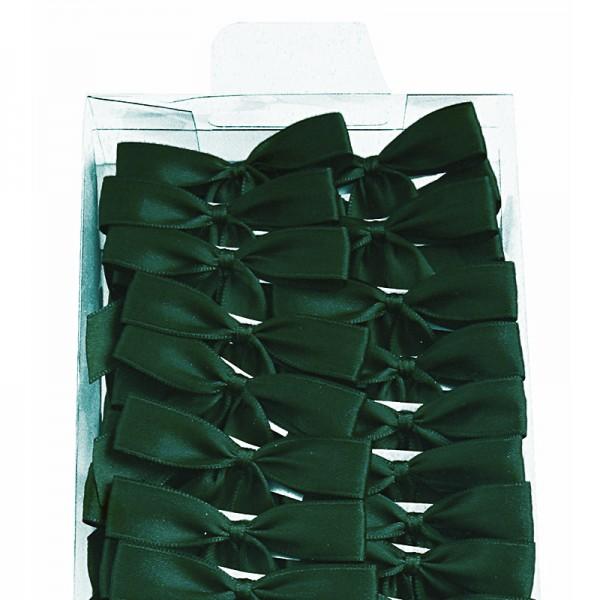 Fertigschleife 2-Flügel: tannengrün - mit Selbstklebe-Etikett