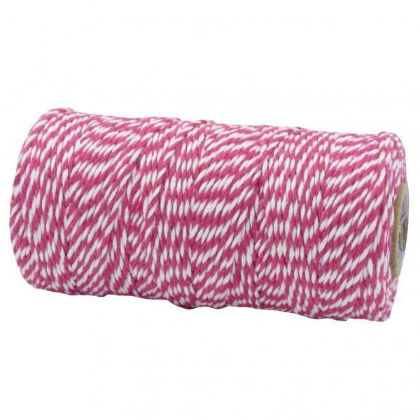 Bäckergarn, pink-weiß: 1,5mm breit / 100m-Rolle