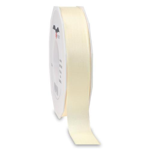 Taftband, creme: 25mm breit / 50m-Rolle, mit feiner Webkante.
