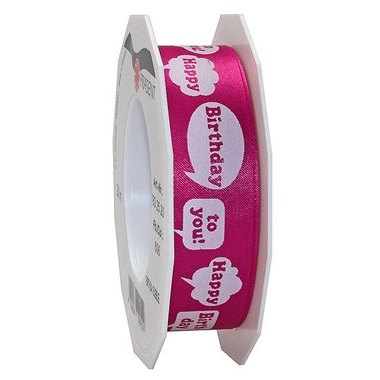 Geburtstagsband: BIRTHDAY BUBBLE, 25mm breit / 20m-Rolle, pink