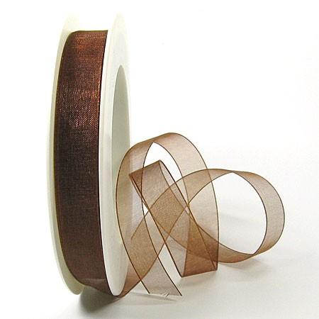 Organzaband - 15mm breit / 25m-Rolle, kaffeebraun