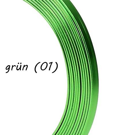 Aluminium-Flachdraht: ca. 5mm x 1mm - 10m-Ring: grün (01)