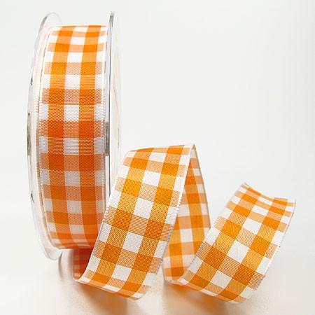 Karoband: 25mm breit / 25m-Rolle, orange-weiss