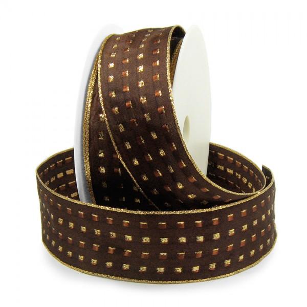 Dekorband-GLAMOUR, dunkelbraun-gold: 38mm breit / 25m-Rolle, mit Drahtkante