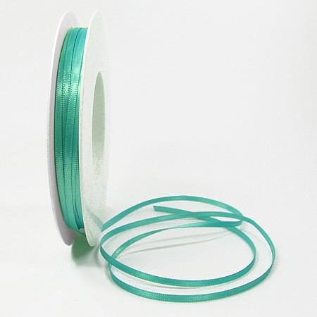 Satinband SINFINITY, türkis: 3mm breit / 50m-Rolle, mit feiner Webkante.