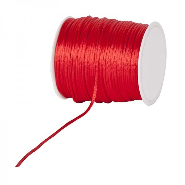 Satinkordel-Seidenkordel: 3mm Ø breit / 100m-Rolle, rot