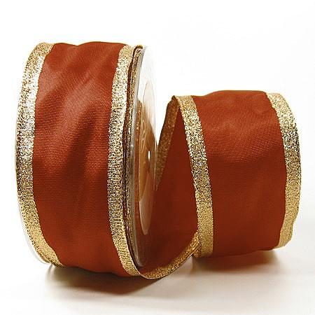 Dekoband Classic, braun-gold: 50mm breit / 25m, mit Drahtkante