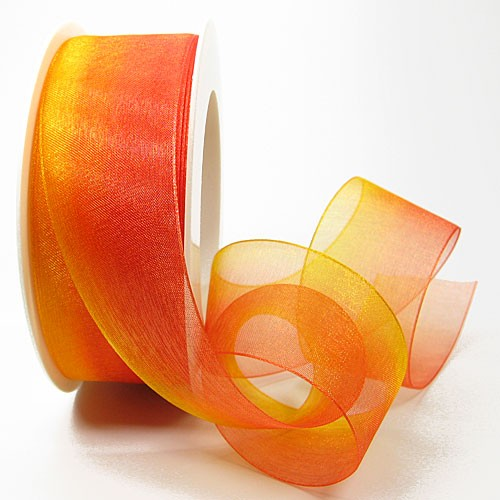 Organzaband RAINBOW, 38mm breit /25m-Rolle: gelb-orange