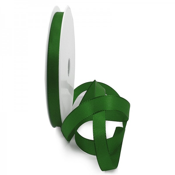 Taftband, dunkelgrün: 10mm breit / 50-Rolle, mit feiner Webkante