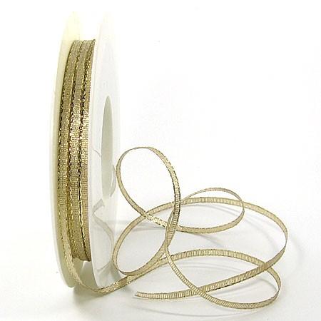 Satinband-Brokat, gold: 3mm breit / 50m-Rolle.