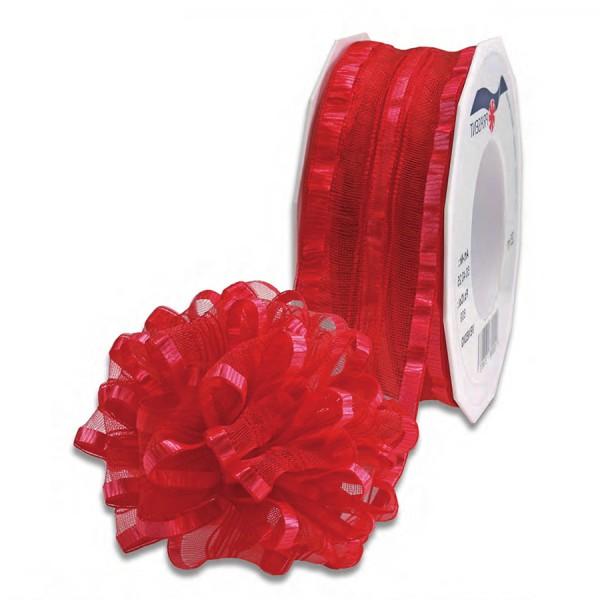 Ziehschleifenband VENEDIG: 40mm breit / 25m-Rolle, rot