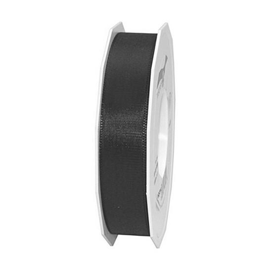 Taftband, schwarz: 25mm breit / 50m-Rolle, mit feiner Webkante.