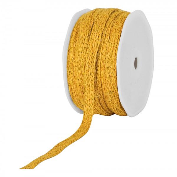 Jute-Flechtband, gelb: 12mm breit / 20m-Rolle